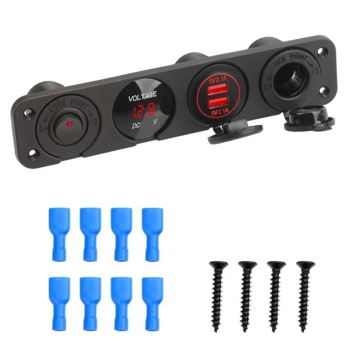 Phares et optiques,12 24V 8 Gang prise allume cigare double USB pour voiture RV camion ATV UTV camping Car - Type 1 gang red