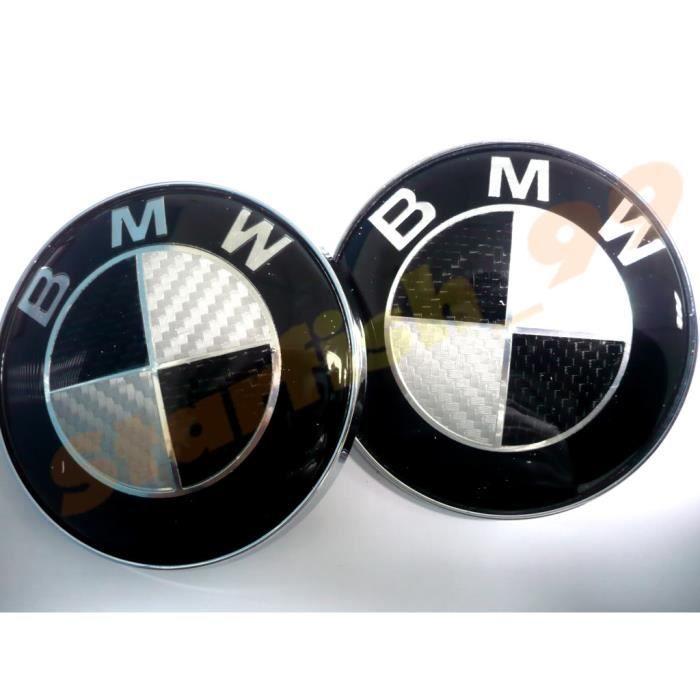 2 x LOGO BMW CARBON NOIR DIAMETRE 82mm COFFRE + CAPOT