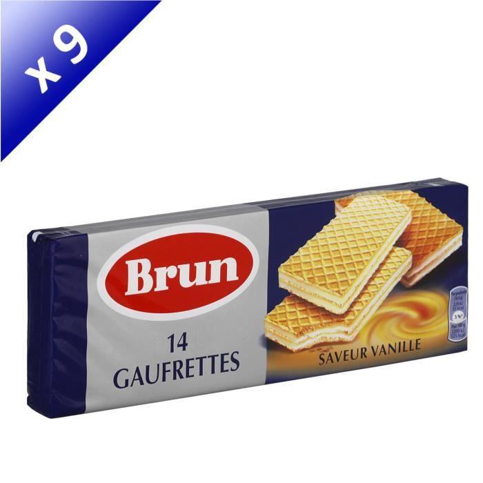 [LOT DE 9] BRUN 14 gaufrettes saveur Vanille - 146 g