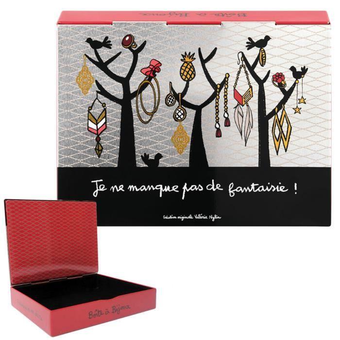 Boite à Bijoux J'ADORE Rose - Coffret de Rangement Idée Cadeau Original Humoristique pour Femme Valérie Nylin DLP Derrière La Porte
