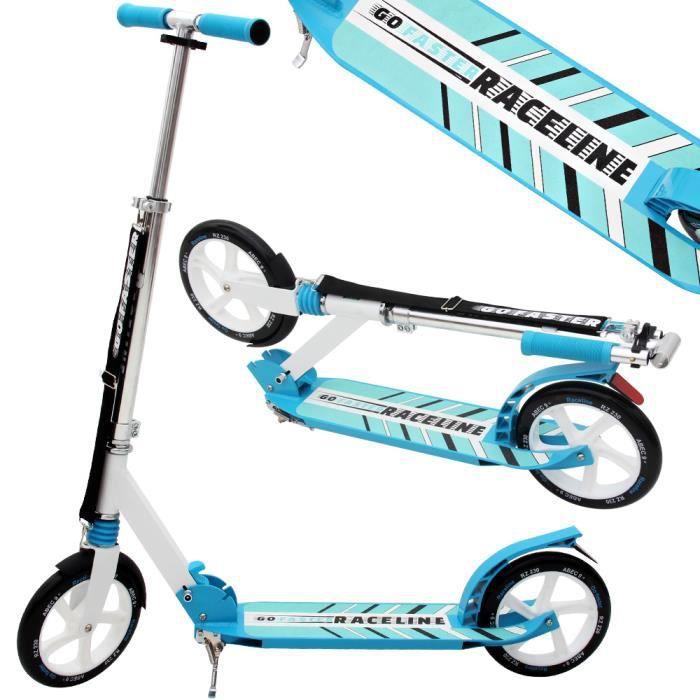 Trottinette pro bleu -Go Faster Raceline- - pliable- grande roues 230mm en PU