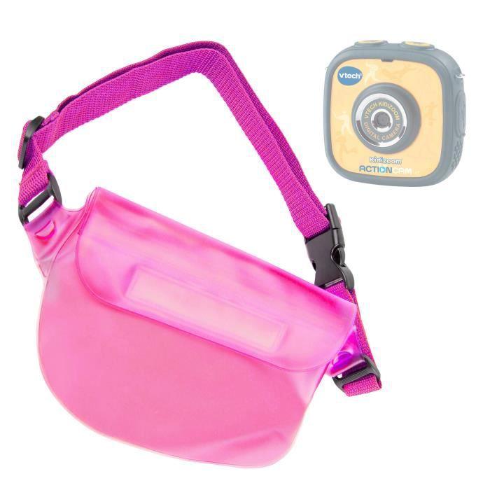 Pochette housse étanche banane rose pour caméra enfant VTech Kidizoom Action Cam - bandoulière réglable