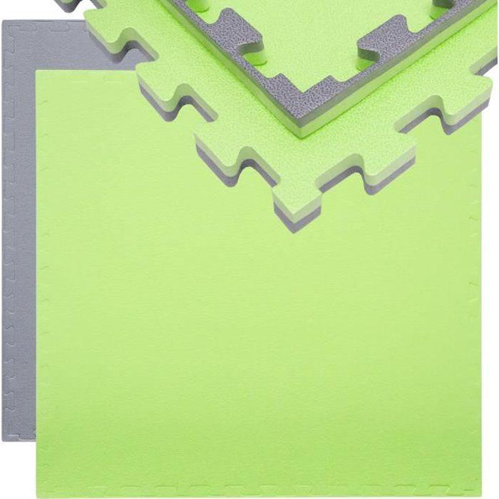 Tapis Puzzle de Fitness Protection Sol de Sport 90x90x2cm Gris Vert