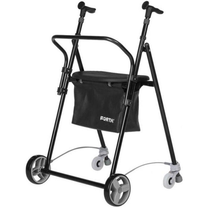 Déambulateur à roues en aluminium - Pliable avec freins panier et siège - Modèle AIR ON plus- Couleur: noir