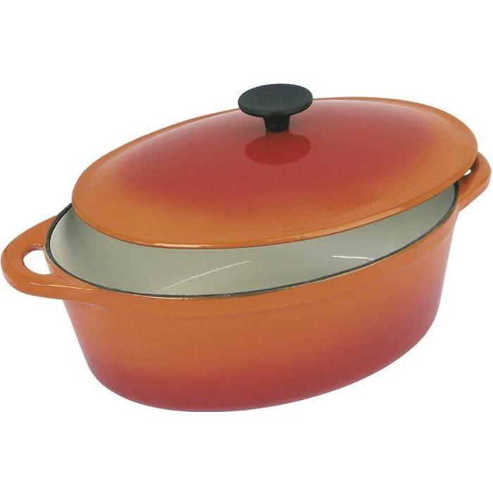 CREALYS GRAND CHEF Cocotte ovale en fonte d'acier émaillée - L 37 cm - 9 L - Orange - Tous feux dont induction