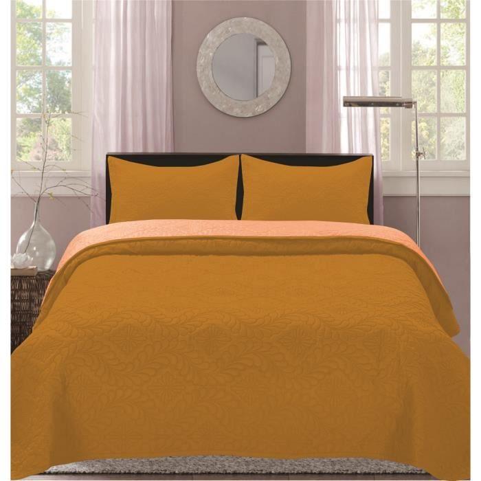Boutis Bicolor 2 places  220 x 240 cm - Moutard-beige