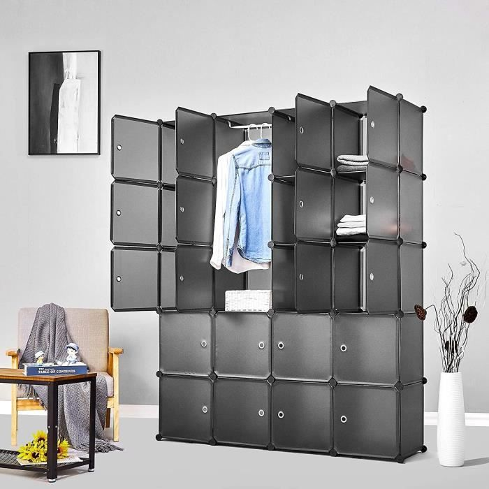 Armoire Penderie Portable Étagère de Rangement Cubes de Stockage Modulaire - Vêtements - Accessoires - 20 cubes - Gris - Meerveil