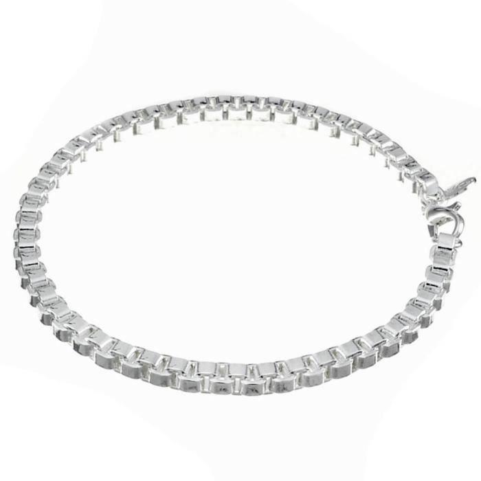 Bracelet chaîne et gourmette Argenté argent sterling 925/00 Bijou fantaisie haut de gamme Femme Blanc Chaîne wz-B0442