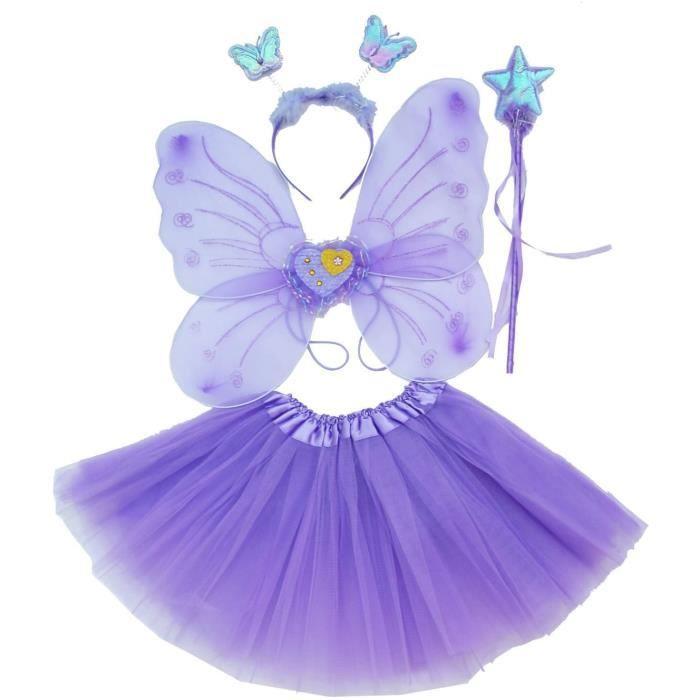 MARSEE Ailes, Baguette, Serre-tête et Tutu - Déguisement Papillon pour Enfants 3 - 8 Ans -Couleur Violet