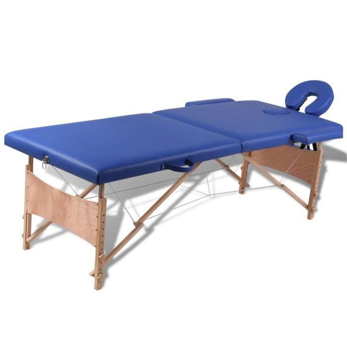 Haute qualité Table pliable de massage Bleu 2 zones avec cadre en bois