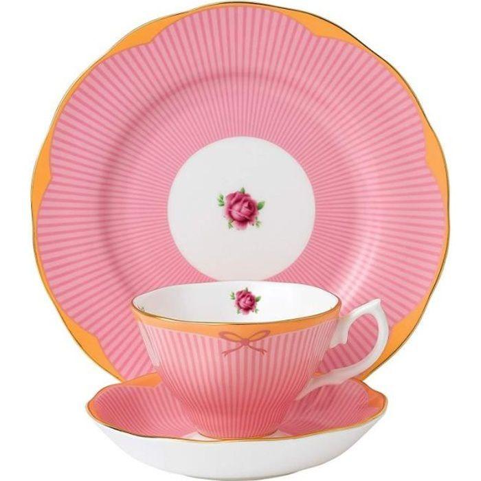 Royal Albert - Service 3 pièces 'Sweet Stripe Collection' avec tasse, sous tasse et assiette