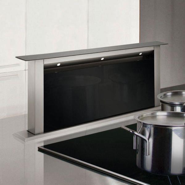 Hotte cuisine escamotable Silverline STARLA inox et verre noir 60 cm Inox