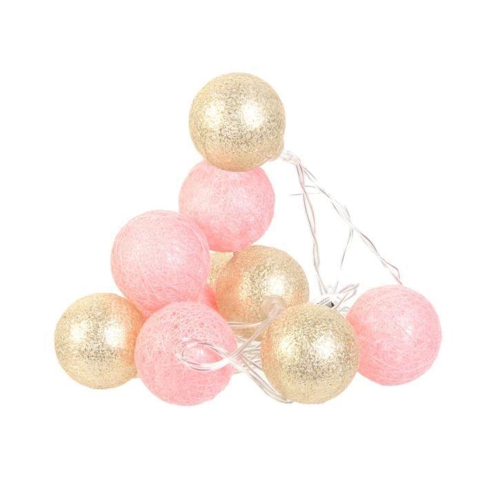 Guirlande lumineuse 10 LED Boule Céleste - L. 192 cm - Rose et doré