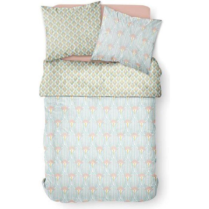 Parure de lit 2 personnes 220X240 Coton imprime bleu Art deco SUNSHINE