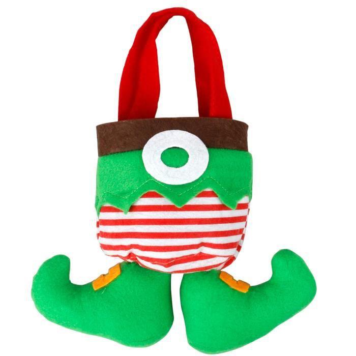 TRIXES Nouveauté Joli Sac à Cadeaux de Noël Vert Lutin Bonbons Chocolats et Petits Cadeaux