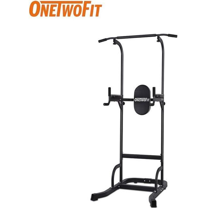 OneTwoFit Station Traction dips Multifonctions Barre de Traction dips Banc de Musculation Power Tower Chaise Romaine OT061