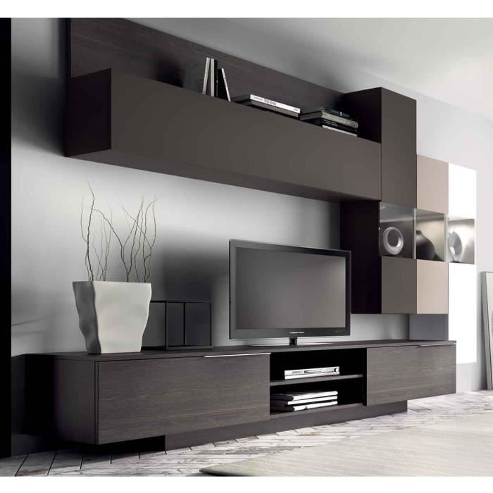 meuble mural tv design dania atylia couleur taupe mati re mdf achat vente living meuble. Black Bedroom Furniture Sets. Home Design Ideas