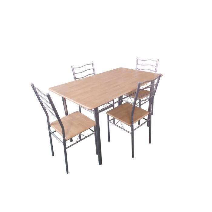 table de cuisine et salle manger 4 chaises bremen coloris bois naturel et gris ensemble. Black Bedroom Furniture Sets. Home Design Ideas