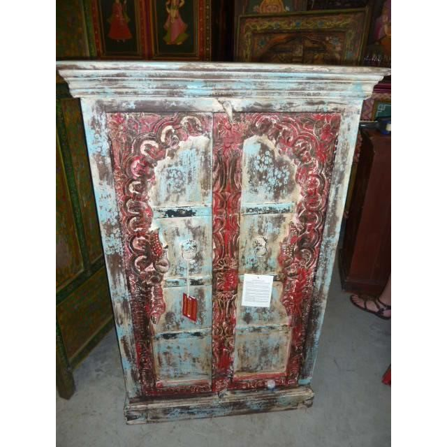 Armoire basse porte arche turquoise rouge achat vente for Armoire basse chambre adulte