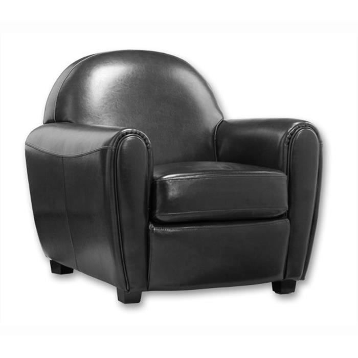fauteuil club noir fauteuil club en cro te de achat vente fauteuil croute de cuir cdiscount. Black Bedroom Furniture Sets. Home Design Ideas