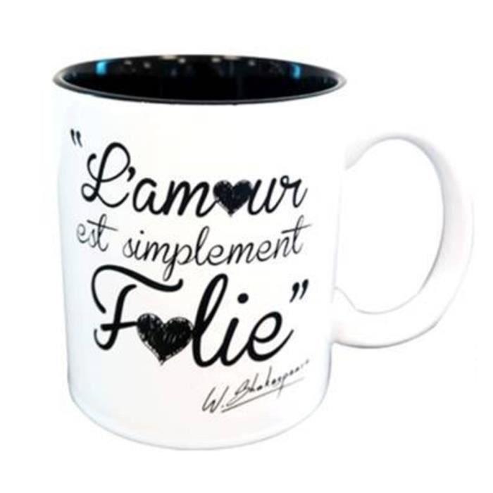 Mug Noir Et Blanc Avec Citation Amour