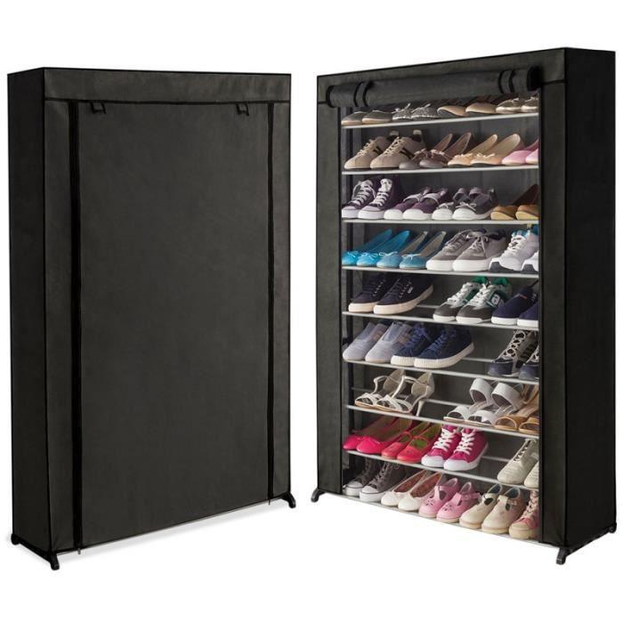Meuble A Chaussures 50 Paires Housse Noire Achat Vente Meuble A Chaussures Meuble A Chaussures 50 Paires Cdiscount