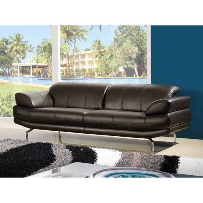Canap cuir 3 places softy chocolat achat vente canap sofa divan - Canape cuir chocolat ...