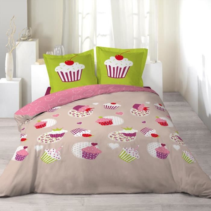 parure de couette 100 coton 200x200 cupcakes achat. Black Bedroom Furniture Sets. Home Design Ideas