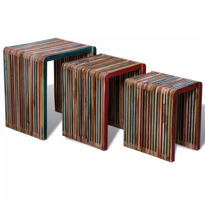 TABLE BASSE Table basse Table à thé Table gigogne 3 pcs Teck r