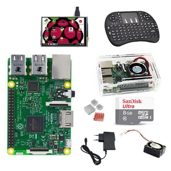 PC ASSEMBLÉ Raspberry Pi 3 Model B+SD 8Go+clavier sans fil+Boî