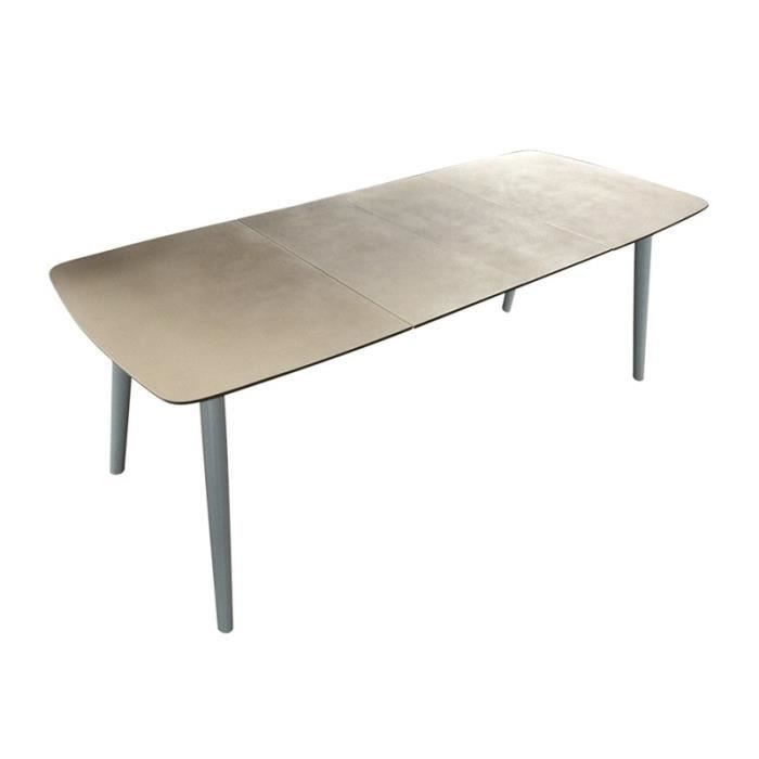 Table extensible ceramique a rallonges taupe achat vente table a manger s - Table a manger taupe ...