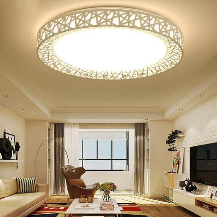 Plafonnier LED Acrylique Tri-Couleur, plafonnier dimmable 24W, pour chambre  à coucher, salon, balcon