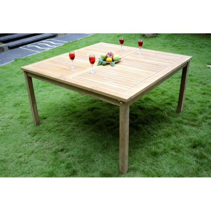 Table de jardin 150 x 150 cm en teck brut pour l 39 ext rieur for Table exterieur en teck