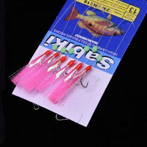 10 Packs Taille 4 Pêche piscatore Sabiki 6 Crochet Feather Rig Bait Fish Lures #4 nouveau