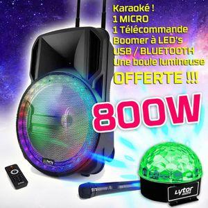 PACK SONO Enceinte DJ PARTY KARAOKE 800W sono portable Batte