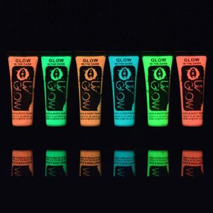 PAILLETTES CORPS UV Glow Lot 6x10ml Peinture Phospho Corps