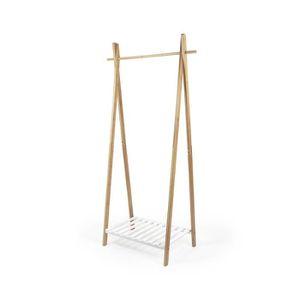 PENDERIE MOBILE Portant NAGANO en bambou - Blanc et bois - L 80 x