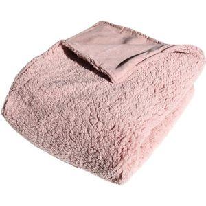 Luxe Bettüberwurf 6 pièces rose marron fourrés Pike Couverture de jour paréo Couverture