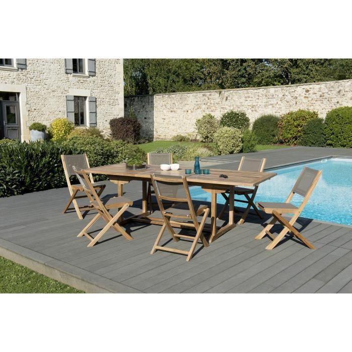 Ensemble de jardin en teck : 1 table rectangulaire extensible 180 / 240 x 100cm- 3 lots de 2 chaises pliantes en textilène, taupe JA