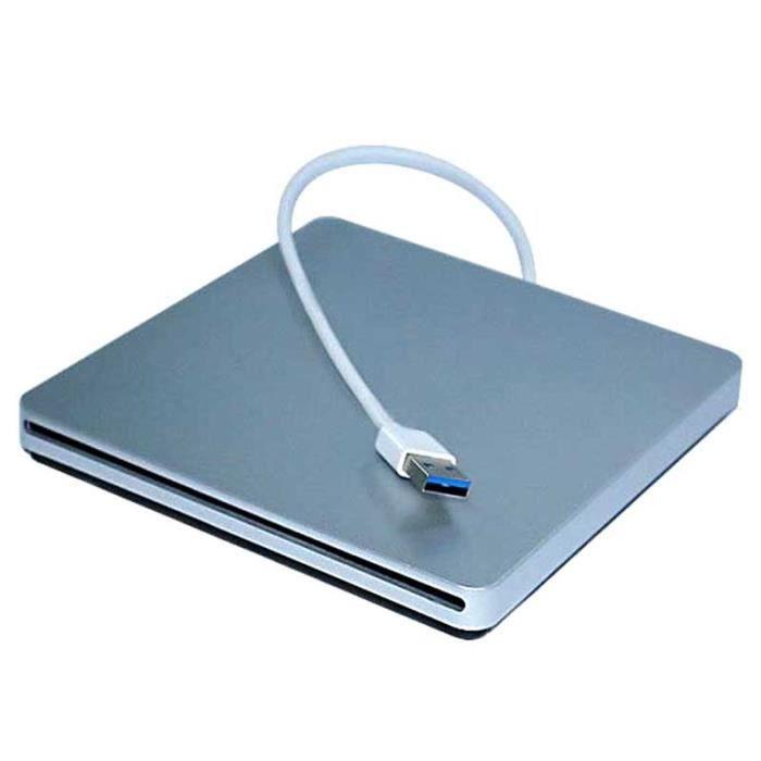 Lecteur CD-DVD-VCD Externe USB 2.0 Ultra-Mince pour Ordinateur Argent