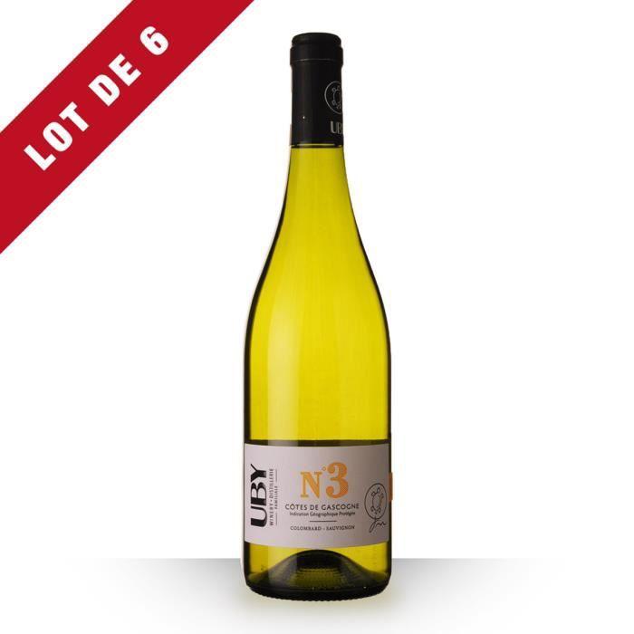 6X Uby n°3 Colombard Blanc 75cl IGP Côtes de Gascogne - Vin Blanc
