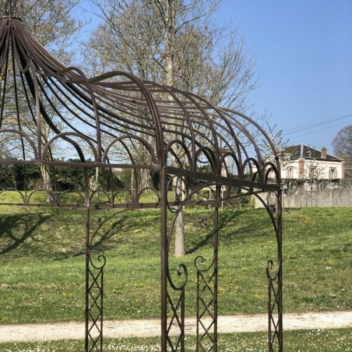 Gloriette Tonnelle en Fer de Jardin Ronde Marron Pergola ø250 cm - 14303-Pergola