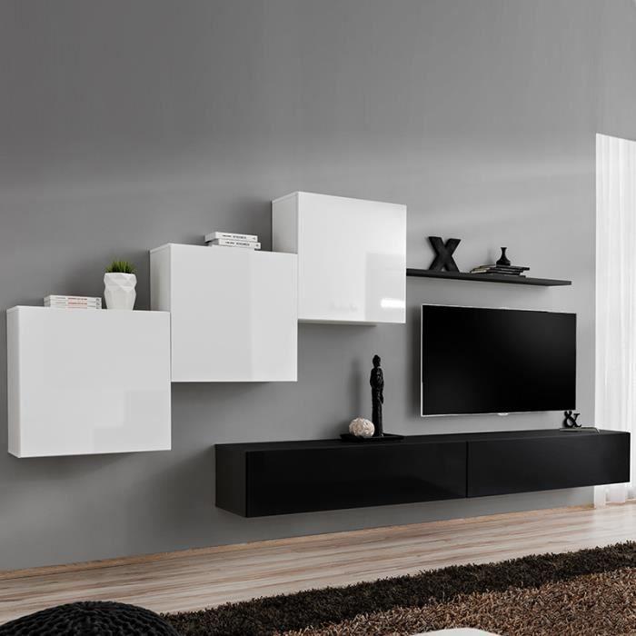 Meuble TV suspendu blanc et noir DUCCIO L 330 x P 40 x H 160 cm Blanc