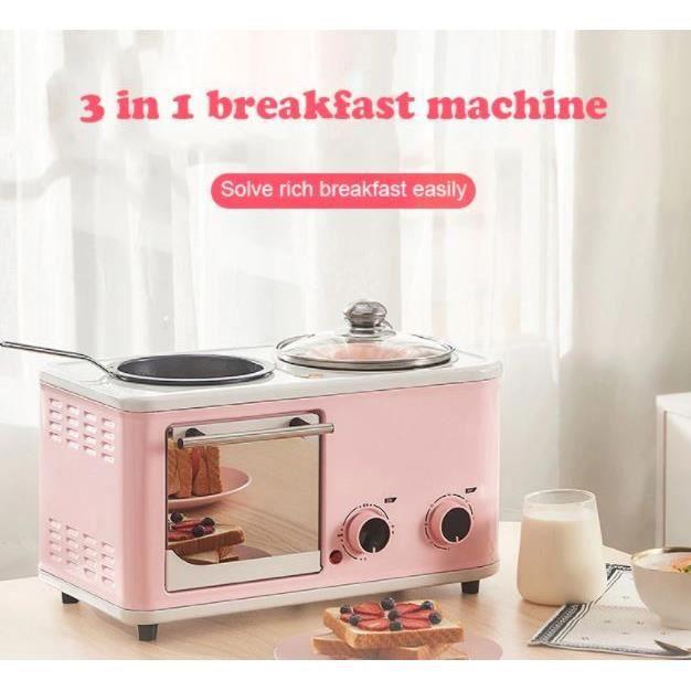 DMWD ménage électrique 3 en 1 petit déjeuner Machine Mini pain grille-pain cuisson four Omelette poêle à frire marmite chaudière ali