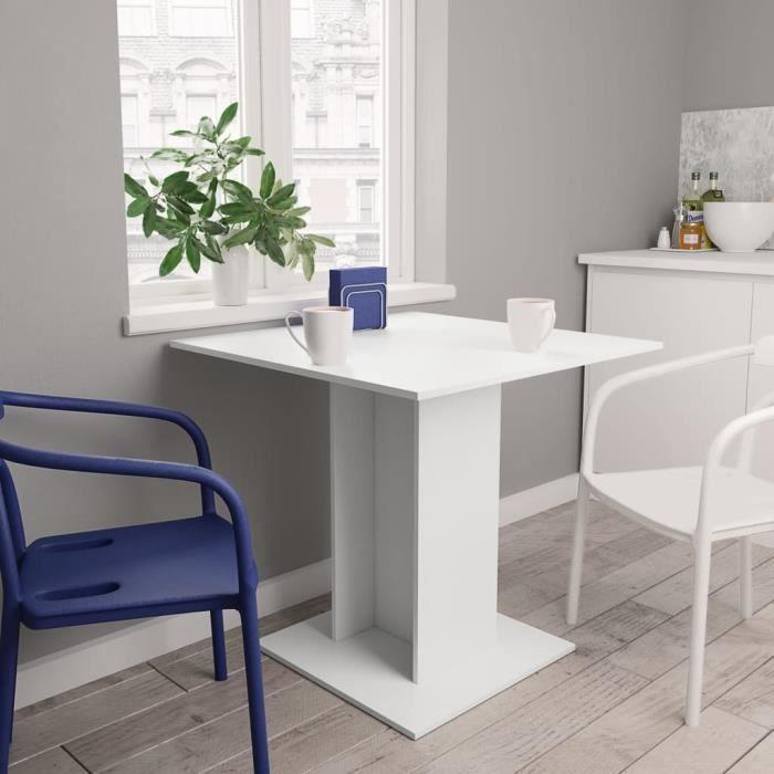 Table à manger 2 à 4 personnes - Style contemporain - 80 x 80 x 75 cm - Blanc