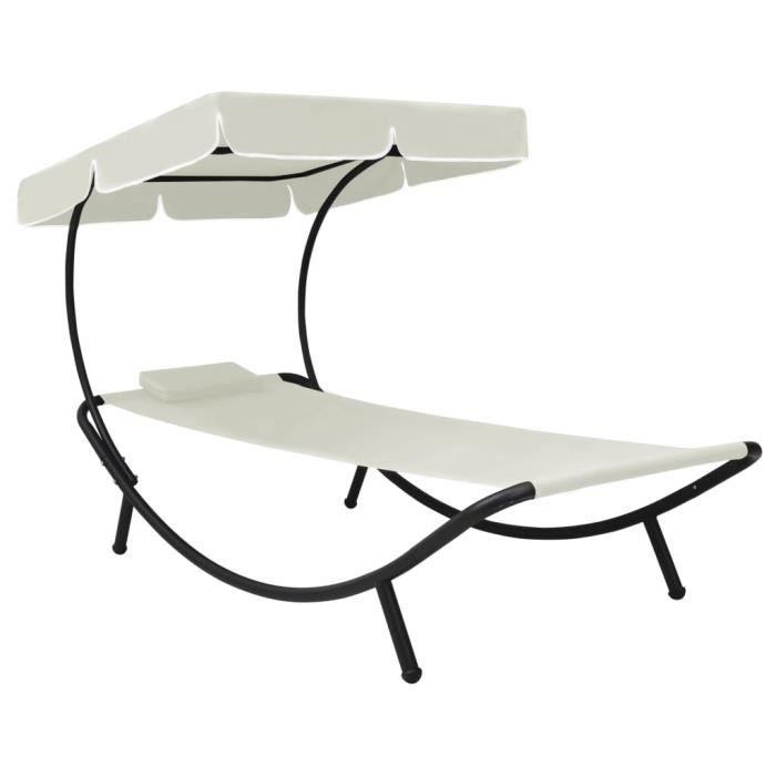 3067MeubleDéco Chaise longue de jardin avec auvent et oreiller Blanc crème Chaise Longue de Jardin grand confort-Transat BAIN DE SOL