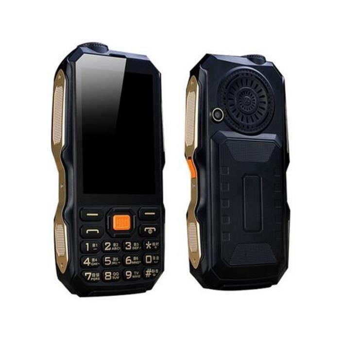 Téléphone Robuste, extérieur, téléphone Portable, 9800mAh Batterie 3 Pouces Ecran Digitales Noir