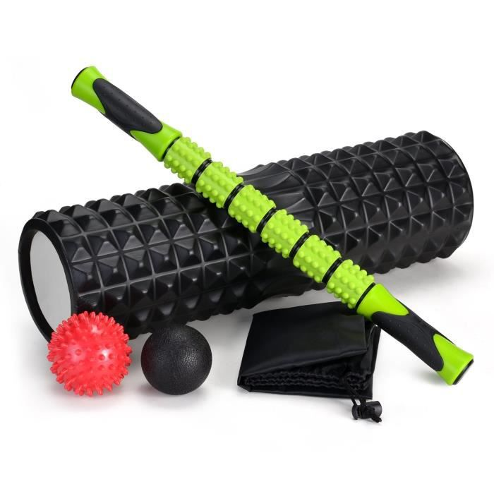 Odoland Kit de rouleau en mousse de grande taille 5 en 1 avec balle musculaire et boules de massage, rouleau en mousse de 18 po d