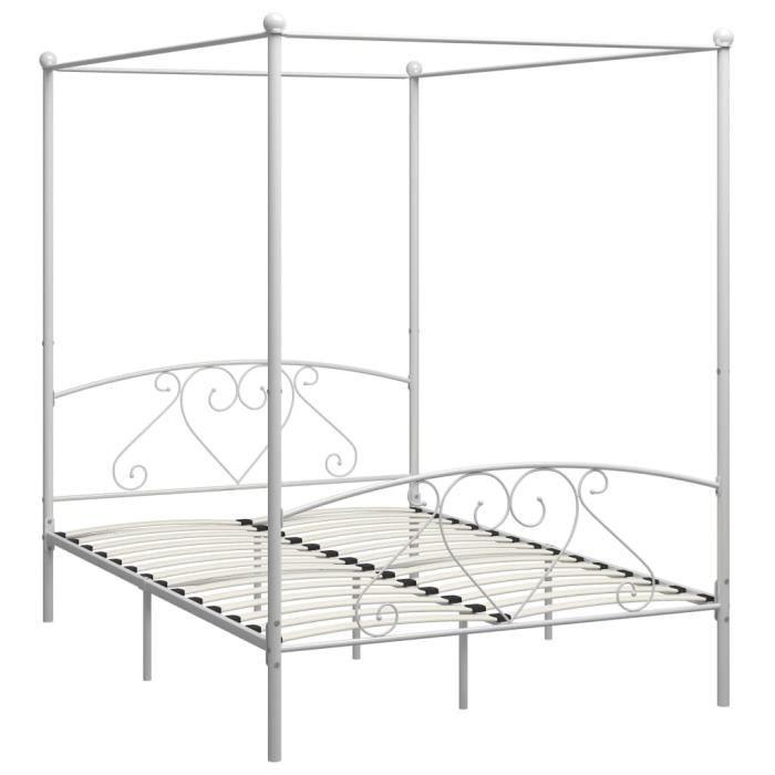 Jardin - Lit adulte à baldaquin - Structure de lit Classique Lit pour 2 personnes Blanc Métal - 140 x 200 cm Style ancien 96875