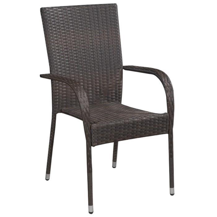 Déco Lot de 4 Fauteuil de Jardin empilables - Chaise de terrasse Chaise de bistro Résine tressée Marron - 11253